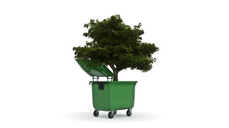 나무가있는 쓰레기통 스톡 콘텐츠