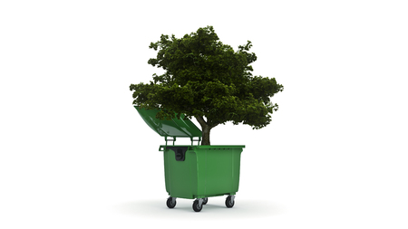 Garbage containers with tree