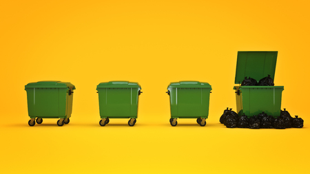 reusing: Green garbage containers. 3d rendering