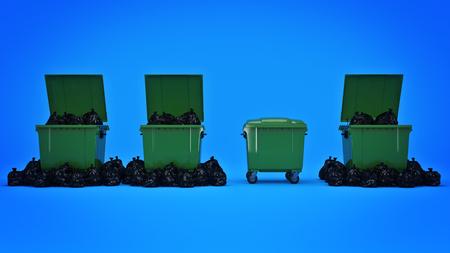 녹색 쓰레기 컨테이너입니다. 3 차원 렌더링 스톡 콘텐츠