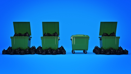 Green garbage containers. 3d rendering Stock Photo - 80593763