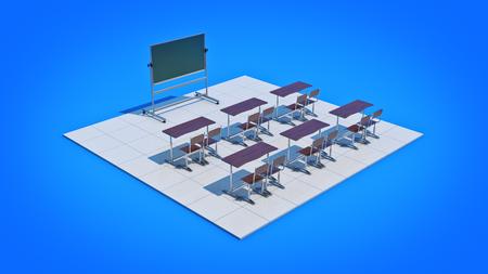 Classroom. 3d rendering Stock Photo