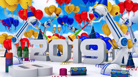 thirteen: Robot 2019. 3d rendering Stock Photo
