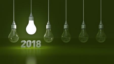 progressing: 2018 New Year sign inside light bulbs. 3D rendering