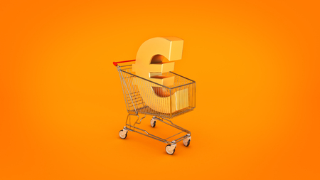 troley: Euro money trolley concept. 3d rendering