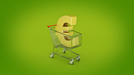 Euro money trolley concept. 3d rendering