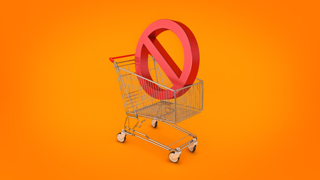Shopping cart with forbidden, prohibition sign. 3d rendering