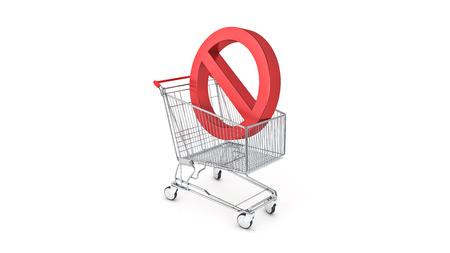 Carro de la compra con prohibido, signo de la prohibición. Representación 3D Foto de archivo