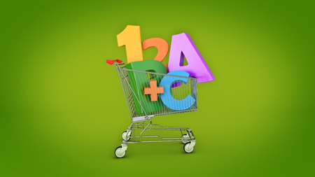 Education Shopping. 3d rendering