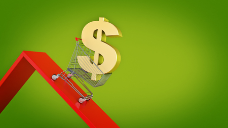 downgrade: Dollar, Concept Currency Decline. 3d rendering Stock Photo