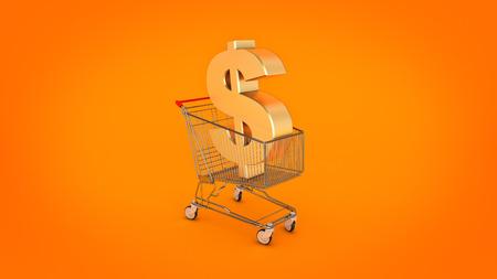 troley: Dollar money trolley concept. 3d rendering