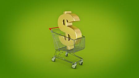 Dollar money trolley concept. 3d rendering
