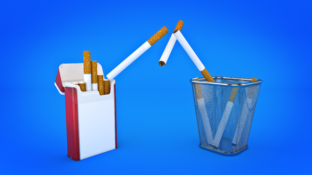 smocking: Bunch of cigarettes in the trash bin. Quit smoking concept. 3d rendering