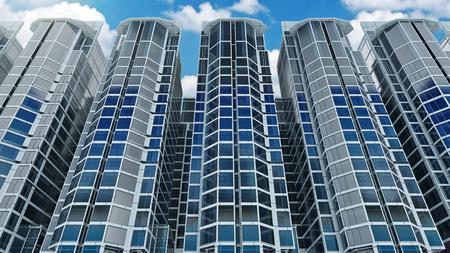 realestate: Office building on a background of the blue sky. 3d rendering Stock Photo