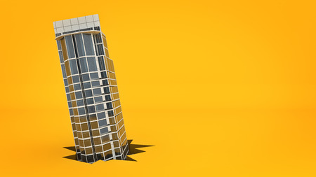 building. Concept of failure. 3d rendering