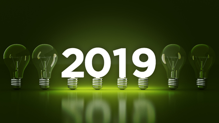 2019 año nuevo signo dentro de bombillas representación 3d Foto de archivo - 104043256