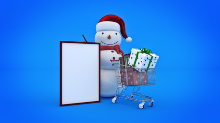 Snowman with santa hat and shopping cart Stock Photo