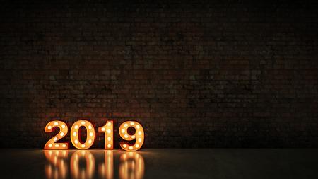 Festzelt Licht 2019 Buchstabenzeichen, Neujahr 2019. 3D-Rendering