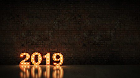 marquee light 2019 letter sign, New Year 2019. 3d render 스톡 콘텐츠