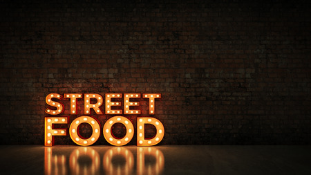 Neon Sign on Brick Wall background - Street food. 3d rendering Фото со стока
