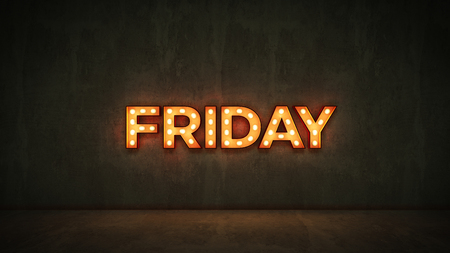 Neon Sign on Brick Wall background - Friday. 3d rendering