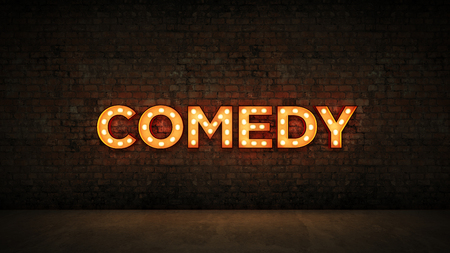 Neon Sign on Brick Wall background - comedy. 3d rendering Stock Photo