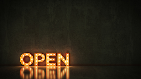 Neon Sign on Brick Wall background - Open. 3d rendering