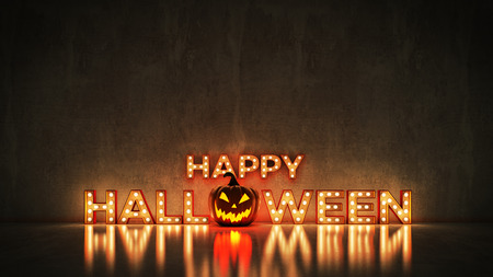 Neon Sign on Brick Wall background - Happy Halloween. 3d rendering Stock Photo