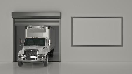 Garage with Opened Roller Door. 3D Rendering