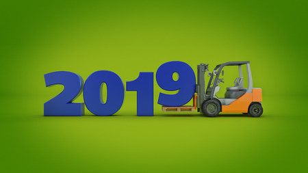 Modern forklift truck, 2019 New Year sign. 3d rendering.