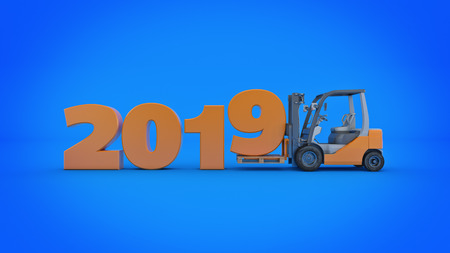 Modern forklift truck, 2019 New Year sign. 3d rendering. Stock fotó