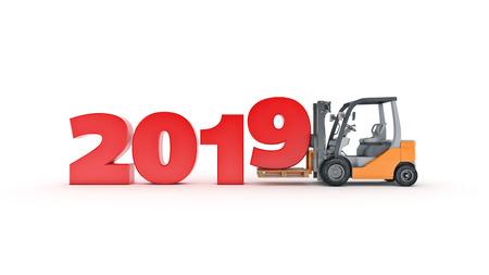 Modern forklift truck, 2019 New Year sign. 3d rendering.