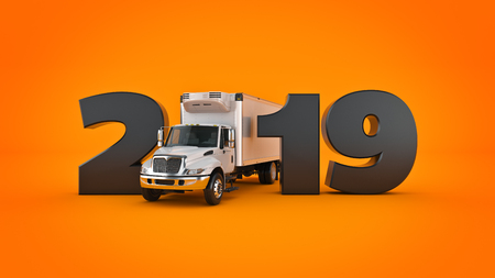 Refrigerated Truck concept 2019 New Year sign. 3d rendering. Reklamní fotografie