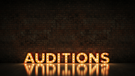 Neon Sign on Brick Wall background - Auditions. 3d rendering Foto de archivo - 115150417