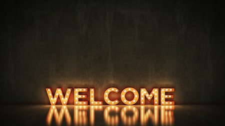 Neon Sign on Brick Wall background - Welcome. 3d rendering 스톡 콘텐츠