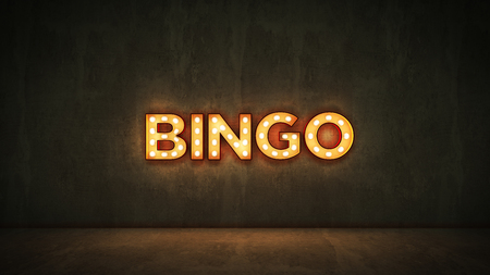 Neon Sign on Brick Wall Background - Bingo. 3d rendering
