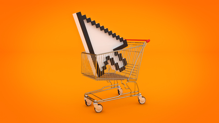 shopping cart with mouse cursor. 3d rendering