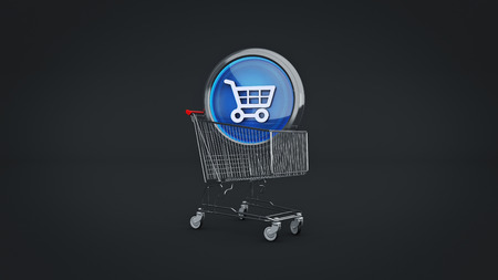 E-commerce glossy icon with shopping cart. 3d Rendering Archivio Fotografico