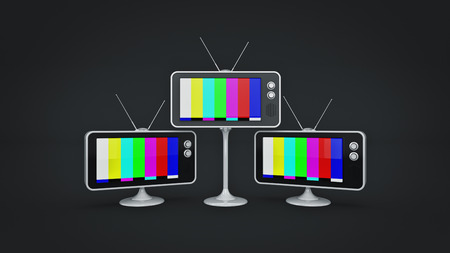 Retro TV with an vintage antenna. 3d rendering