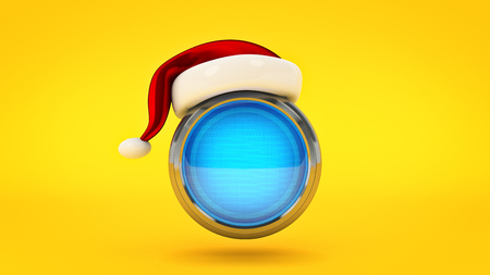 Computer Button concept Merry Christmas. 3d rendering