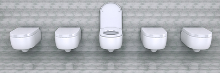 White toilet bowl in a bathroom. 3d rendering