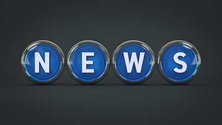 glossy icon News. 3d Rendering