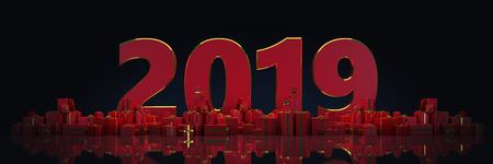 Gift box 2019 in dark background. 3d render Banque d'images - 120067047