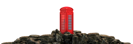 telephone booth on a mountain. 3d render Imagens