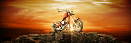 Motorcycle at sunset. 3d render
