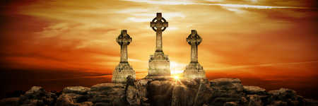 gravestone at sunset. 3d render