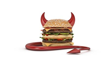 Burger dresses up for Halloween. 3d render Фото со стока