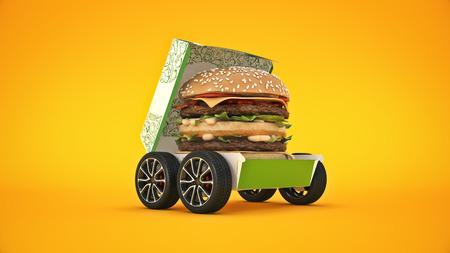 Hamburger Delivery. 3d render