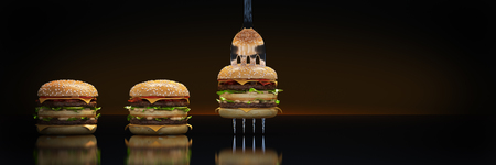 A small hamburger stuck in the fork. The concept of adequate nutrition. 3d render Stockfoto