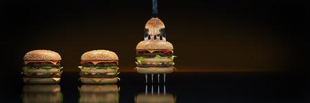 Ein kleiner Hamburger steckte in der Gabel. Das Konzept der angemessenen Ernährung. 3D-Rendering